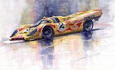 Yurly Shevchuk WATERCOLOR Porsche 917 K Martini Kyalami 1970 Painting