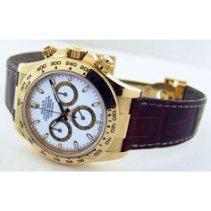 Rolex Cosmograph Daytona Yellow Gold White Dial Brown Leather Strap 116518 Rehaut