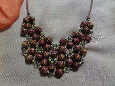 Paper bead bib necklace