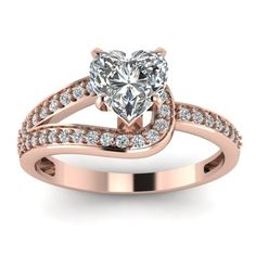 White Diamond Rings In 18K Rose Gold | 0.84 Ct. Diamond Loop Rings Set | Fascinating Diamonds ✿. ☻ ☂  ☻
