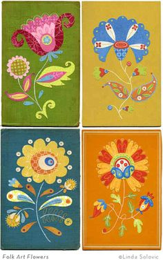 Folkart flowers. I love these colors together.