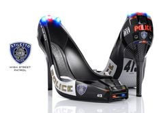"""Stiletto Police"", the high heels comes with a bumper in the front and two back mirrors on both sides. Moreover, there's still a LED light that shines blue and red lights to warn those bad boys not to interrupt you. Want to take the center stage of a theme party? You should try these wonderful shoes. Believe me, girls"