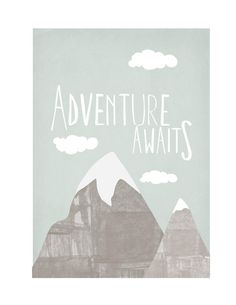 """13"""" by 19"""", Neutral Nursery Mountain Scene Illustration with Hand Lettering Adventure Awaits New Baby Art"""