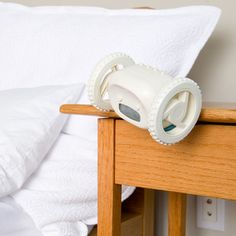 Clocky - the alarm clock that runs away to make sure you'll get out of bed.great gift to give someone else... Lol