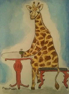 La típica jirafa adicta al café- Acuarela