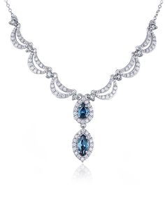 Look at this White & London Blue Topaz Contour Pendant Necklace on #zulily today!
