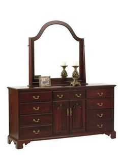 "Amish Elegant River Bend 72"" Dresser Elegant River Bend showcases fine wood storage for bedroom. Consider soft close drawers, dust panels, adjustable shelving, added mirror and much more. Amish made in Ohio. #dresser #bedroomstorage"