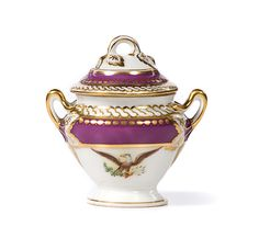 LINCOLN - Sugar Bowl and Cover - from the state dinner and dessert service of Abraham Lincoln. Imported and decorated by E. Haughwout and Company, New York, 1857 - Mary Todd Lincoln, Abraham Lincoln, Presidential History, The Last Laugh, Lenox China, China Patterns, American History, American Presidents, History Books