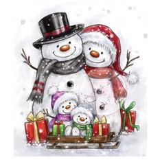 Wild Rose Studio Clear Stamp - Snowman Family Get ready to make some amazing Christmas cards with this gorgeous snowman family. It's the ideal image to match with the greeting 'Merry Christmas from ou Christmas Rock, Christmas Scenes, Christmas Snowman, Winter Christmas, Christmas Time, Vintage Christmas, Christmas Crafts, Christmas Decorations, Christmas Ornaments