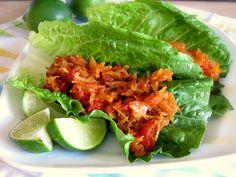 "Roasted spaghetti squash tacos with lettuce ""shells"".  I love spaghetti squash, and these look really good."