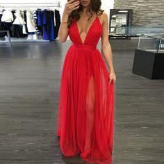 Deep V sexy sleeveless red dress