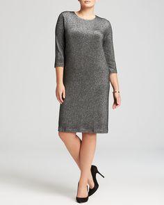 Karen Kane Plus Size Silver Metallic Knit Party Dress | Bloomingdale's #Karen_Kane #Curvy #Plus #Size #Fashion #Silver #Metallic #Knit #BodyCon #Party_Dress #Plus_Size_Fashion #Bloomingdales