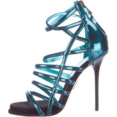 Pre-owned Paul Andrew Patent Cage Sandals (2 740 ZAR) ❤ liked on Polyvore featuring shoes, sandals, green, stiletto sandals, green sandals, stiletto heel shoes, patent leather sandals and patent leather shoes