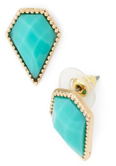 Simple Spotlight Earring - Blue, Gold, Solid, Party