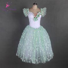 973427965 Aliexpress.com : Buy Adult Light Green/White Professional Ballerina Dance  Costume Long Romantic Ballet Tutus Women Performance Tutu Dress B17029 from  ...