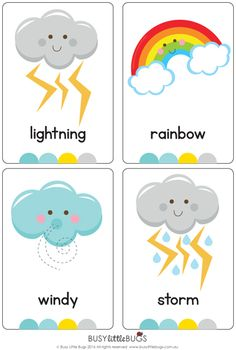 Flash Cards There are 12 brightly coloured, high quality printable flash cards in this pack. Great for any unit on weather.There are 12 brightly coloured, high quality printable flash cards in this pack. Great for any unit on weather. Teaching Weather, Preschool Weather, Weather Crafts, Weather Activities, Preschool Learning Activities, Preschool Classroom, Preschool Worksheets, Preschool Activities, Kids Learning