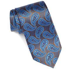 Men's David Donahue Paisley Silk Tie (4.970 RUB) ❤ liked on Polyvore featuring men's fashion, men's accessories, men's neckwear, ties, chocolate, mens paisley ties, mens ties and mens silk ties