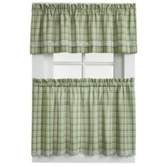 Dover Window Curtain Tier Pair in Green - BedBathandBeyond.com
