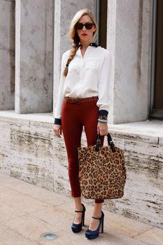belt, blouse, cheetah, cheetah print, chunky heel