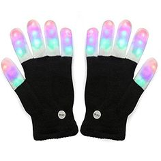 Flashing Finger Lighting Gloves LED Colorful Rave Gloveswith 6 Flashing Modes 7 LED Colors Gift Idea for Christmas Party -- To view further for this item, visit the image link.