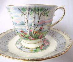 Vintage Royal Albert, Bone China England, Silver Birch Cup and Saucer In good aged condition without chips or cracks. Please note, antique & vintage pieces are considered used,and some may have slight imperfections or wear, as to be expected of antique/vintage items. We will note any major
