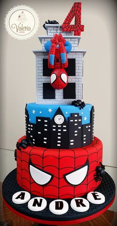 Spiderman Birthday Cake, Superman Birthday Party, Birthday Cake For Him, 4th Birthday Cakes, Superhero Cake, Cotton Candy Cakes, Cake Designs For Kids, Cute Cakes, Themed Cakes