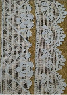 This Pin was discovered by Gül Crochet Bedspread Pattern, Crochet Lace Edging, Crochet Curtains, Filet Crochet, Hand Crochet, Crochet Stitches, Knit Crochet, Crochet With Cotton Yarn, Crochet Slippers