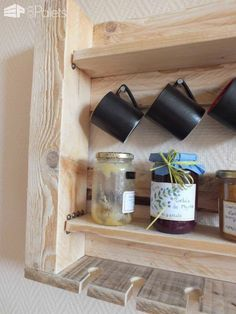 Pallet Kitchen Shelf Pallet Shelves & Pallet Coat Hangers