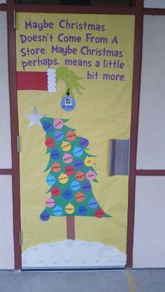 Christmas door, grinch door, school