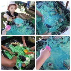 """Animals & some cooking bits and pieces in slime (lux flakes (or any pure soap grated) & water) for sensory fun - from Mummy Musings and Mayhem ("""",)"""