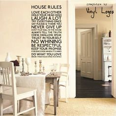 HOUSE RULES KITCHEN ART MURAL STENCIL WALL STICKER TRANSFER VINYL DECAL | eBay
