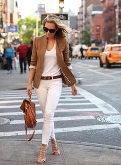 Casual outfit for Spring.  White jeans, white shirt, brown blazer, brown belt, and scrappy sandals.  Great look for running around town.