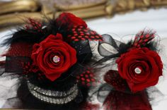 Prom Corsage & Boutonniere Set, Forever Corsage, Preserved Roses Corsage, Red and Black Prom Corsage, Keepsake Corsage on Etsy, $55.50