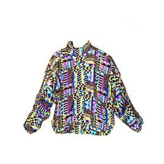 Abstract Print Vintage 80's Multi Color Athletic Windbreaker Jacket