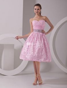 Pink A-line Sweetheart Organza Womans Prom Dress. See More A-line at http://www.ourgreatshop.com/A-line-C938.aspx