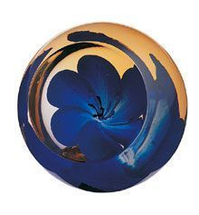 blue anemone glass paperweight