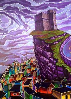 Signal Hill painting by Newfoundland artist Adam Young Framed Canvas Prints, Canvas Frame, Fogo Island Newfoundland, Sea Of Poppies, Signal Hill, Canvas Painting Tutorials, Adam Young, Canadian Painters, City Folk