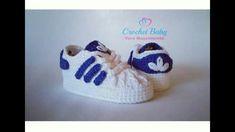 Tênis ADIDAS de crochê - Tamanho 09 cm - Crochet Baby Yara Nascimento