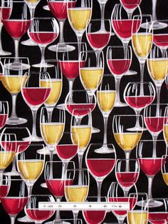 Wine Glass Drink Fabric ~ 100% Cotton By The Yard ~ Timeless Treasures C8199 #TimelessTreasuresFabric