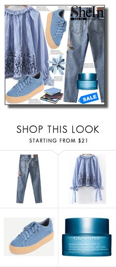 """""""//Street style SheIn 4/9 //"""" by sajra-de ❤ liked on Polyvore featuring Clarins"""