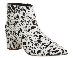 Buy Black And White Cow Hair Office Lollipop Pointed Boots from OFFICE.co.uk.