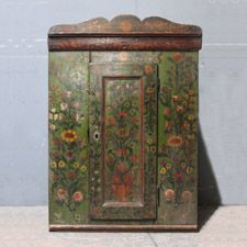 Armoires/Cupboards - A hanging corner cupboard in antique pine, dated 1915, it may have been re-painted or re-dated at that time to celebrate a marriage.  The painting is particularly lovely, with flowers of the field, on a green ground.  Nagyon szep ('very nice!') as they say in Central Europe. A special piece.