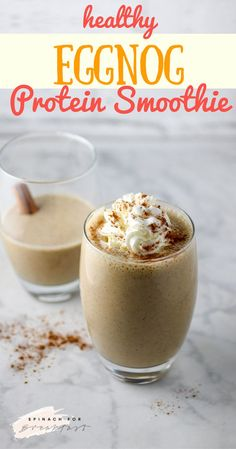 Healthy Eggnog Protein Smoothie -- this gluten free and vegan smoothie is the perfect recipe for a healthy breakfast, snack, or dessert! The perfect healthy twist on a holiday classic. Made with cashew milk or almond milk, this is a great creamy and tasty alternative to thin, bland store bought eggnog drinks - plus, it's packed with protein thanks to greek yogurt and your favorite protein powder! Enjoy!