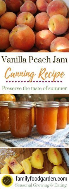 Vanilla Peach Jam Recipe for canning vanilla peach jam. I love canning peach jam, the flavor of summer is divine during the winter. Adding vanilla to peach jam - 20 Totally Homemade Jam Recipes Chutneys, Canning Peaches, Peach Jelly Recipe Canning, Canning Jam Recipe, Jelly Recipes, Jalapeno Recipes, Bacon Recipes, Homemade Jam Recipes, Burger Recipes