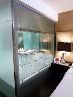 Super steamy Sheraton Lisboa- glass wall between bedroom and bathtub. Elopement honeymoon suite anyone?