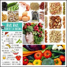 """Buongiorno per la matina amiguit@s!! #FelizMartes El otro día os hablábamos de la importancia de comer alimentos con hierro y biotina para nuestro cabello. Hoy os presentamos al """" Ácido pantoténico"""", esencial para un cuero cabelludo sano y para devolver el color al cabello evitando las canas. Lo encontráis en el consumo de granos enteros, yemas de huevo, leche entera y verduras. Y el """"Cinc"""" que previene la caída del cabello.Se encuentra en nueces, carnes y vegetales."""