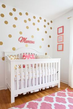 Coral + Gold Polka Dot Nursery for a baby girl - super sweet!