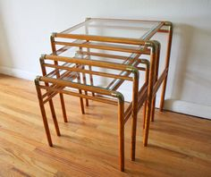 Mid century modern brass and wood nesting tables
