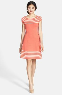 IT'S IN CORAL!!! YES!!! BUYING!!!  Eliza J Stripe Knit Flared Dress | Nordstrom