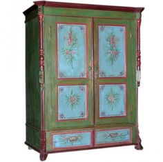 Folk Art Painted Armoire, Russia ca. 1890